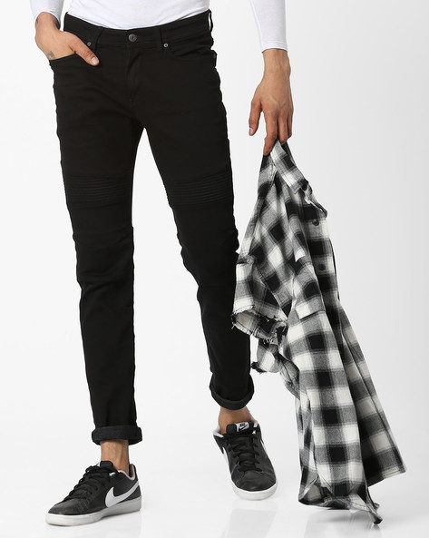 Panelled Slim Fit Flat-Front Trousers By Celio ( Black )