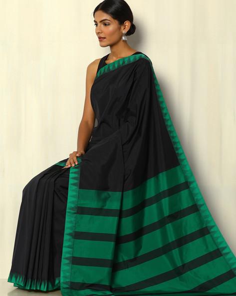 Kadiyal Temple Border South Silk Saree By Pretty Woman ( Black )