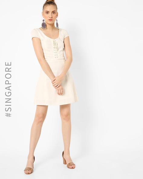 Skater Dress With Front Lace-Up By MDS ( Ivory )