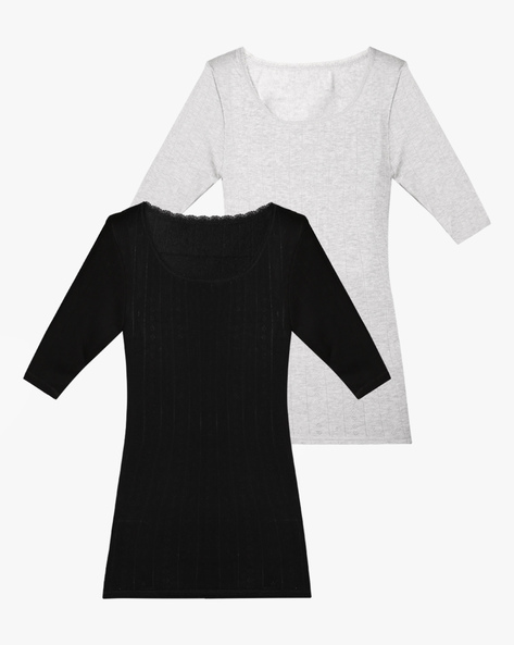 Pack Of 2 Pointelle Thermal Tops By Marks & Spencer ( Black )