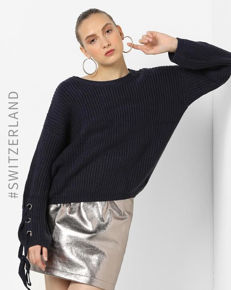 Pullover With Tie-Up Sleeves By TALLY WEiJL ( Blue )