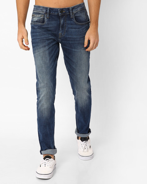 Lightly Washed Slim Fit Jeans By Jack & Jones ( Blue )