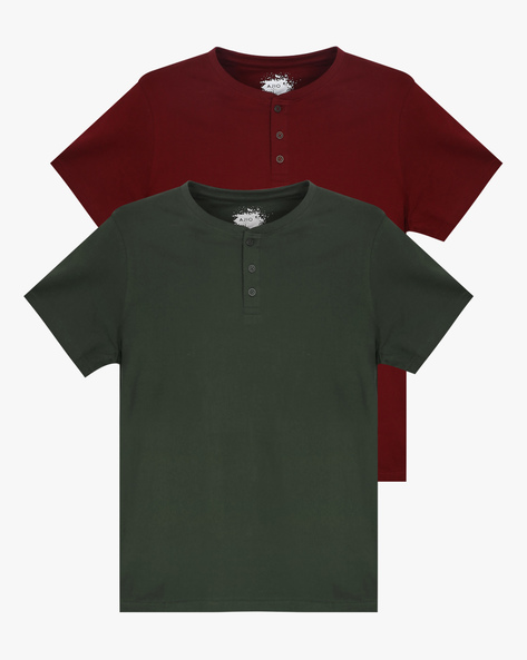 Pack Of 2 Henley T-shirts By AJIO ( Assorted ) - 460043956001