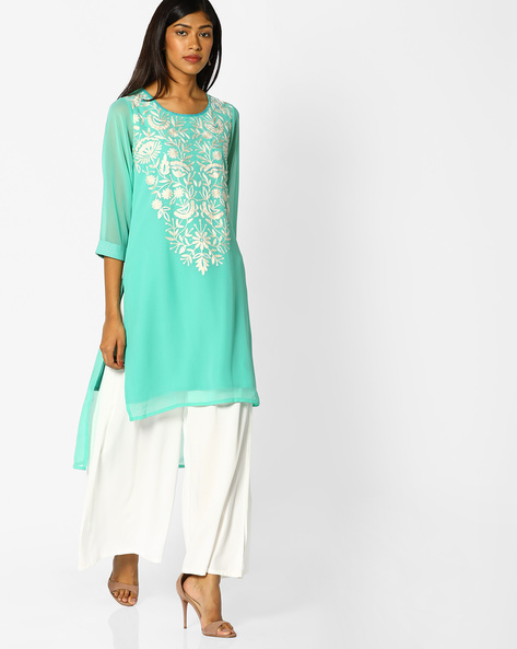 High-Low Kurta With Floral Embroidery By Melange By Lifestyle ( Aqua )