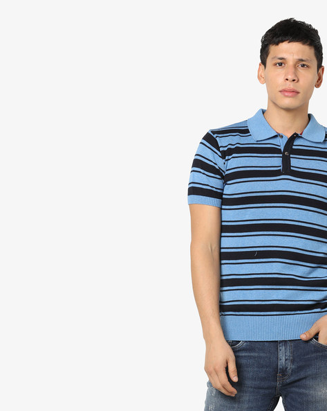 Striped Polo T-shirt By NETPLAY ( Blue )