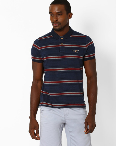 Muscle Fit Striped T-shirt By US POLO ( Navy )