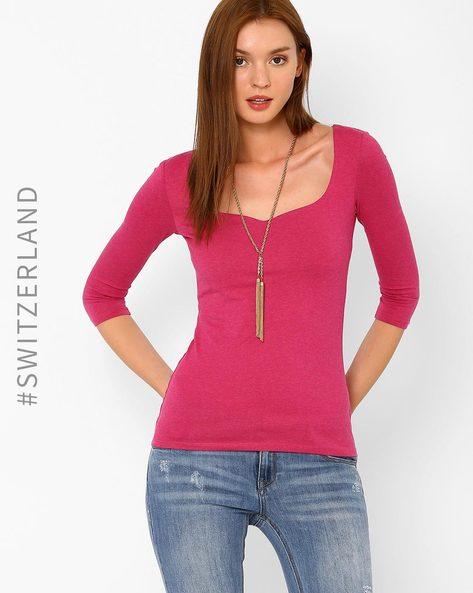 Stretch-Knit T-shirt By TALLY WEiJL ( Pink )
