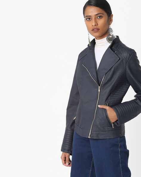 Zip-Front Biker Jacket By The Indian Garage Co ( Navyblue )