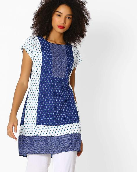 All-Over Print A-line Tunic By FUSION BEATS ( Blue )