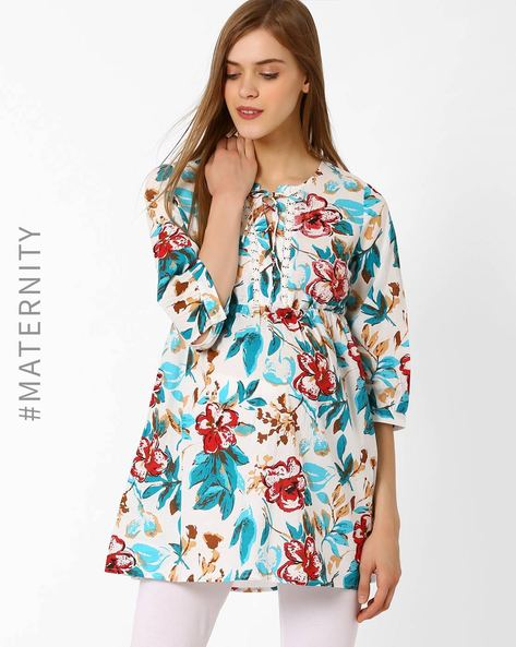 Floral Print Maternity Tunic By Oxolloxo ( Green )