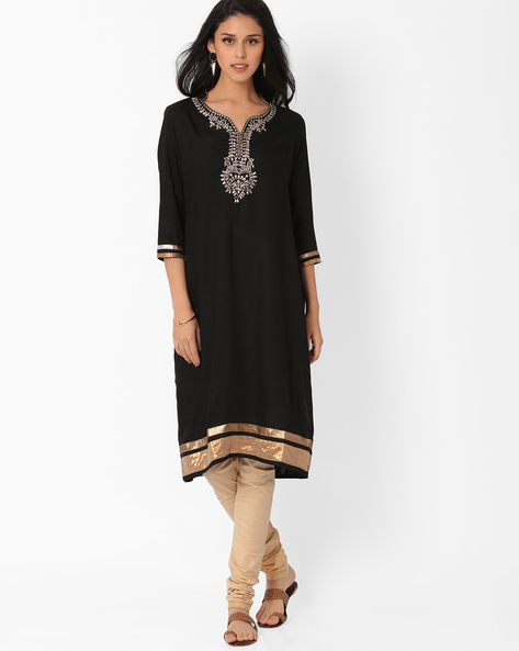 Kurta With Embroidery By AJIO ( Black )