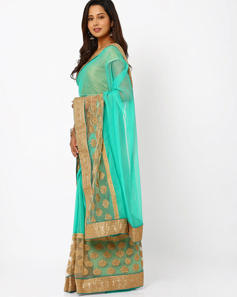 Embroidered Chiffon Saree By Viva N Diva ( Seagreen )