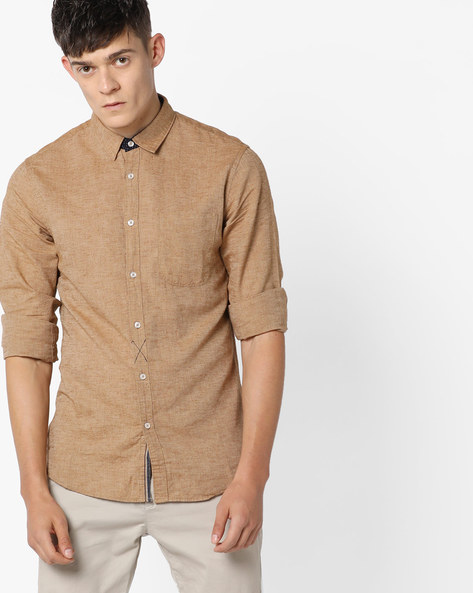 Slim Fit Cotton Shirt With Patch Pocket By AJIO ( Brick )