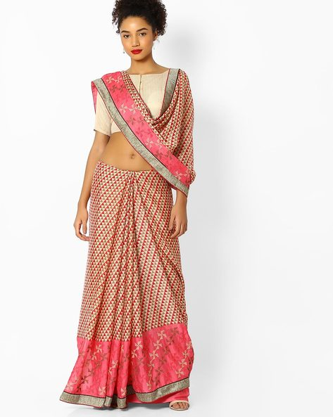 Printed Saree With Embroidery By Parmita ( Pink )