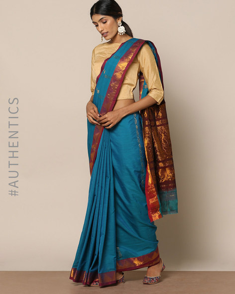 South Cotton Silk Saree With Rich Pallu By Indie Picks ( Blue )