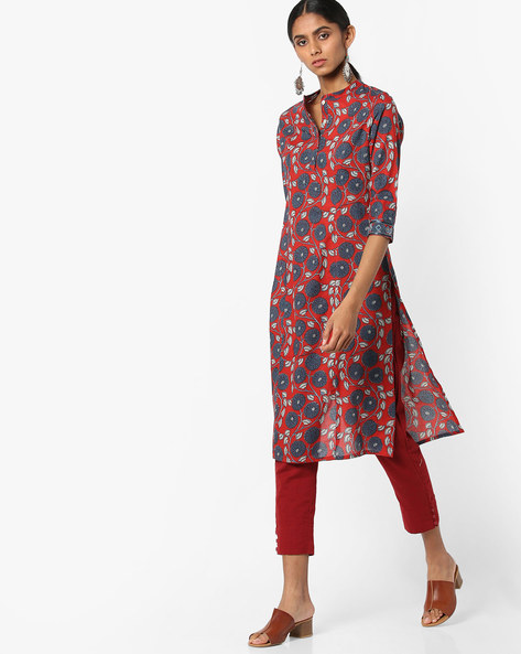 Floral Print Straight Kurta With Mandarin Collar By AJIO ( Red )
