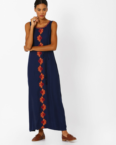 Maxi Dress With Floral Embroidery By Global Desi ( Blue )