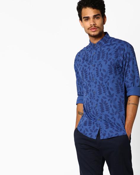 Leaf Print Shirt With Patch Pocket By AJIO ( Blue )