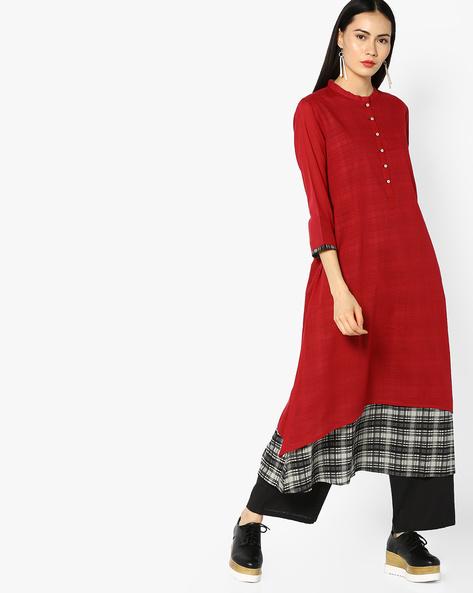 Layered Straight Kurta With Mandarin Collar By Rangmanch By Pantaloons ( Maroon )