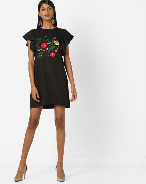 Floral Embroidered Dress With Angel Sleeves By 20Dresses ( Black )