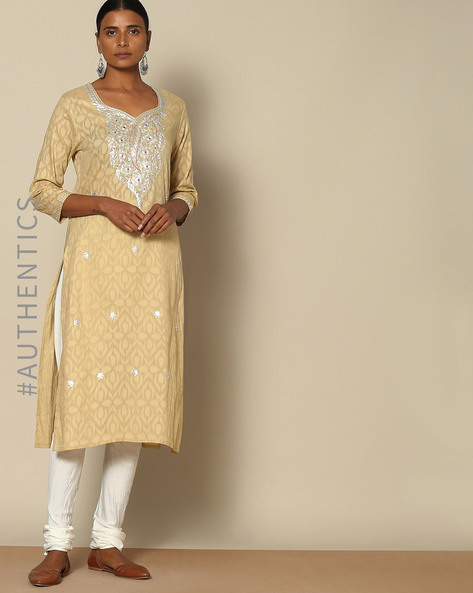 Hand Embroidered Pitta Work Cotton Kurta By Lyla ( Beige )