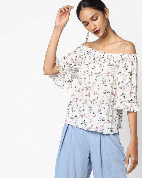 Off-Shoulder Floral Printed Top By Ginger By Lifestyle ( Brown )