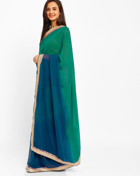 Ombre-Dyed Saree By Florence ( Blue )