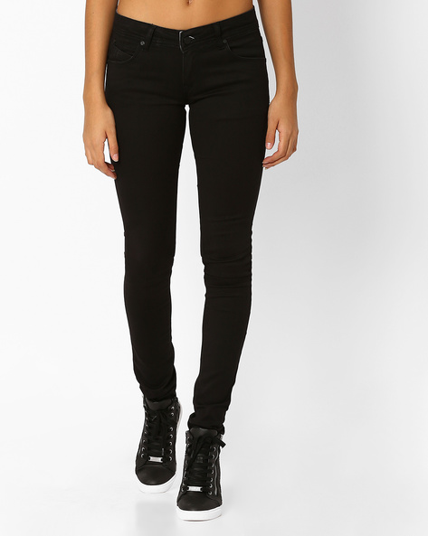 Low-Rise Skinny Jeans By Recap ( Black )