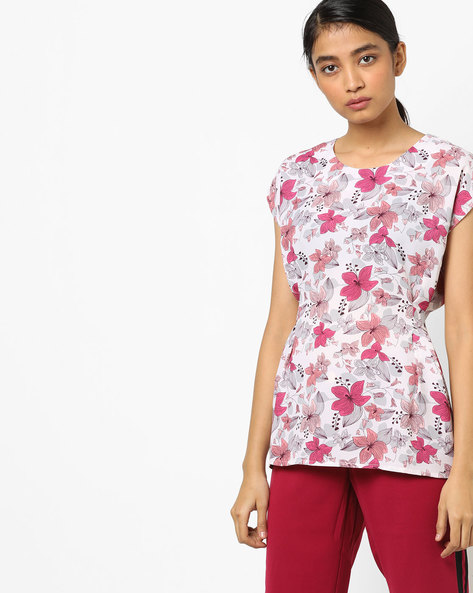 Floral Print Top With Back Tie-Up By AJIO ( Pink )