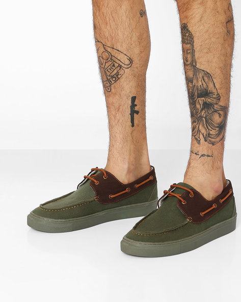 Canvas Slip-On Boat Shoes By TURN ( Green )