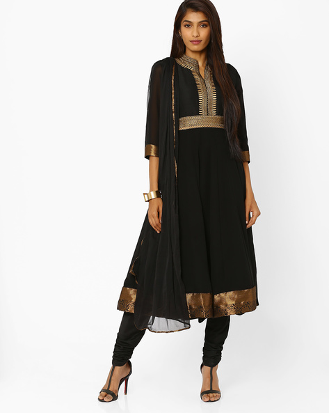 Embroidered Anarkali Churidar Kurta With Dupatta By AJIO ( Black )