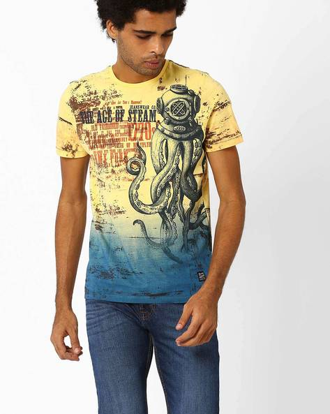 Printed Crew-Neck Slim T-shirt By DNM X ( Yellow )