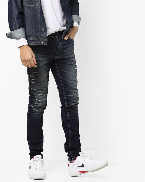Slim Fit 5-Pocket Distressed Jeans By RexStraut JEANS ( Grey )
