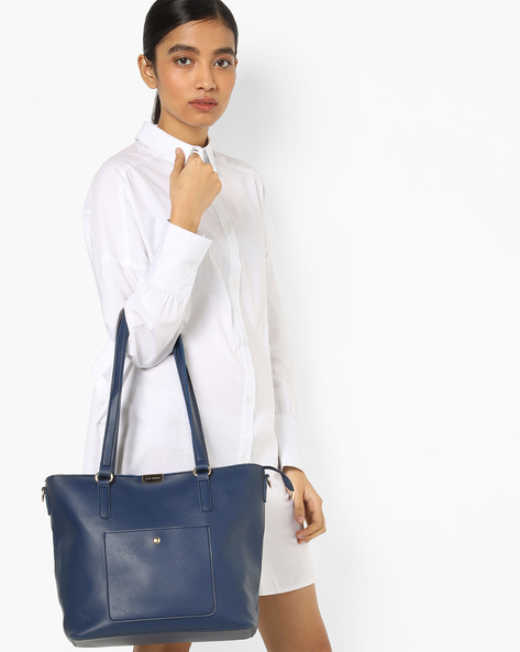 Tote Bag With Additional Pouch By Lino Perros ( Blue )