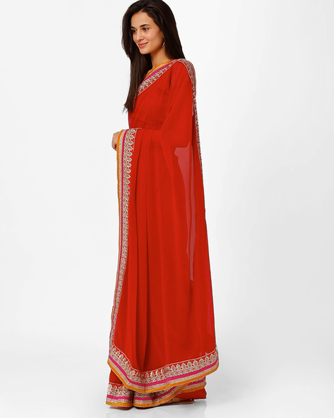 Embroidered Saree By Akoya ( Red ) - 460008924001