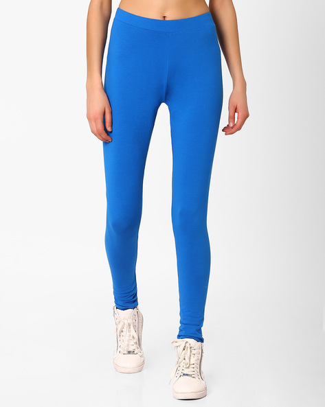 Leggings With Elasticated Waistband By AJIO ( Blue )