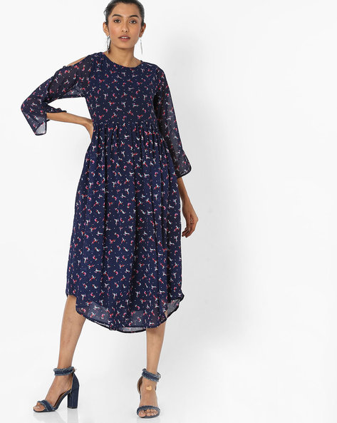 Floral Print Dress With Cold-Shoulder Sleeves By Bitterlime ( Navyblue )