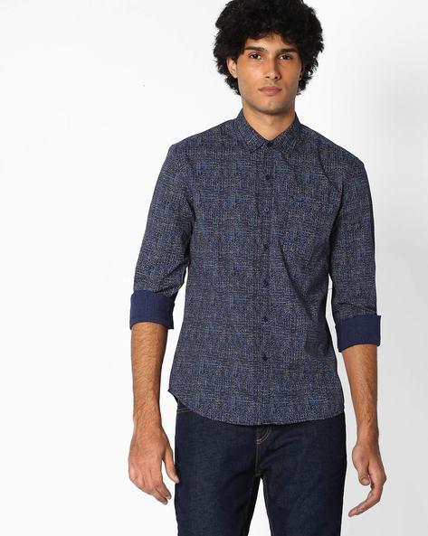 Printed Poplin Slim Fit Shirt By Lee ( Navyblue )