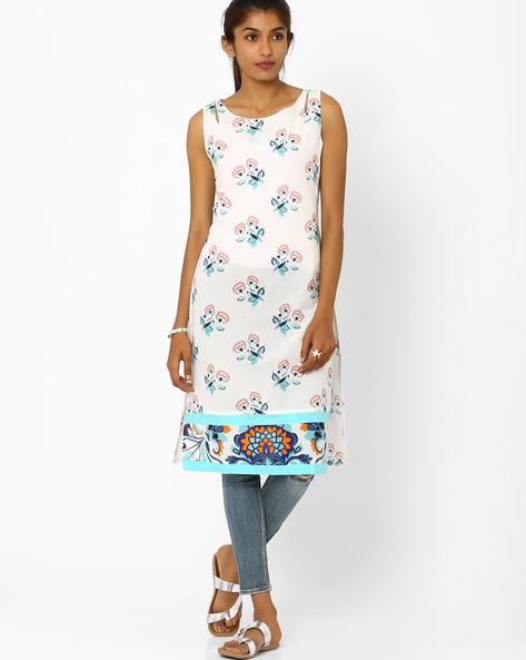 Floral Print Sleeveless Kurta By AJIO ( Offwhite )