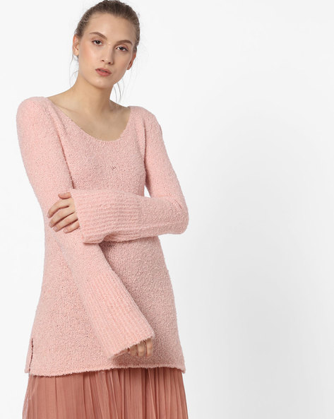 Boat-Neck Pullover With Bell Sleeves By CODE By Lifestyle ( Pink )