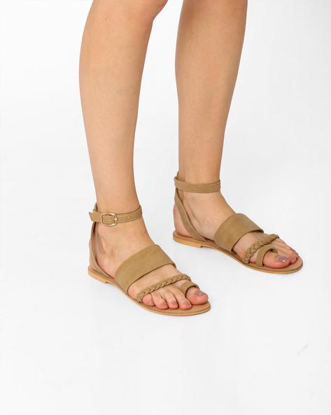 Ankle-Strap Flats With Braiding By AJIO ( Beige )
