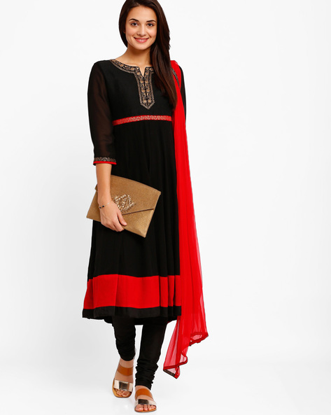 Anarkali Churidar Kurta With Dupatta By AJIO ( Black )