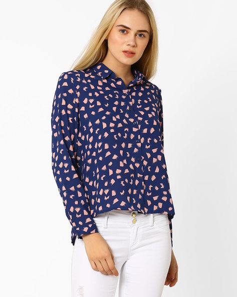 Colour-Block Shirt With High-Low Hem By CHM ( Blue )