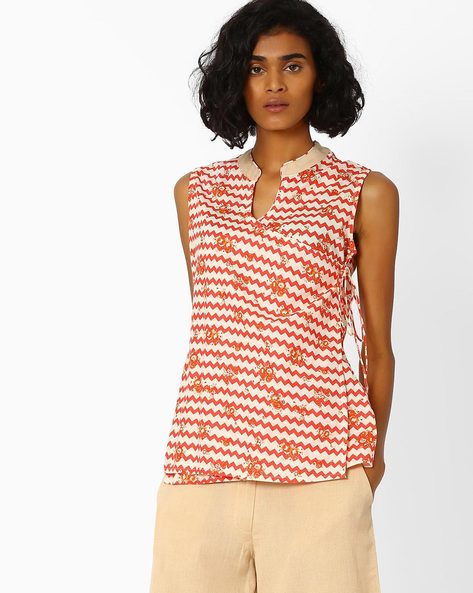 Chevron Print Angrakha Top By AJIO ( Coral )