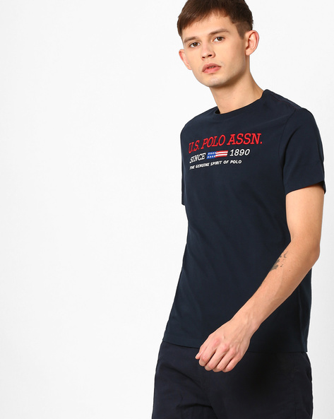 Typographic Print Crew-Neck T-shirt By US POLO ( Navy )