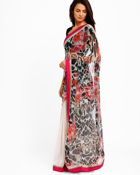 Printed Half & Half Georgette Saree By Brijraj ( Cream )