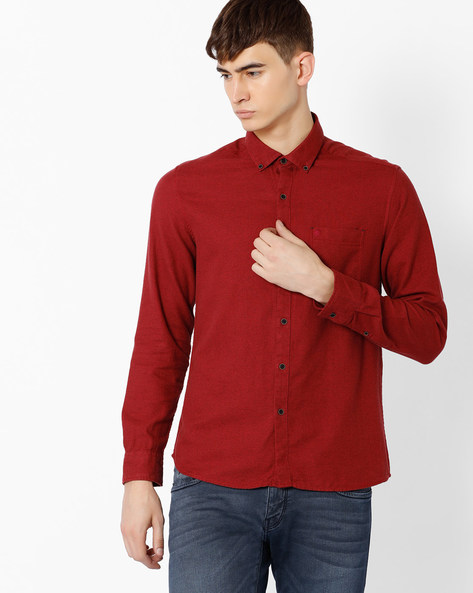 Regular Fit Shirt With Button-Down Collar By NETPLAY ( Maroonburg )