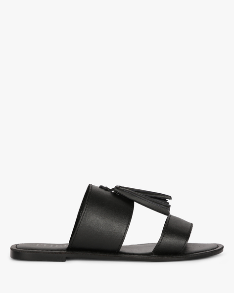 Genuine Leather Tasselled Sandals By THEEA ( Black )