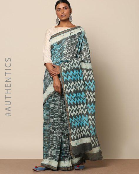 Handblock Dabu Print Chanderi Saree With Zari By Indie Picks ( Blue )