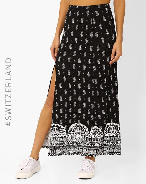 Printed Maxi Skirt With Slit By TALLY WEiJL ( Black )
